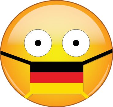 German emoji in a medical mask protecting from SARS, coronavirus, bird flu and other viruses, germs and bacteria and contagious disease as well as toxic smog and air pollution.