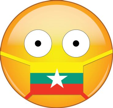 Yellow scared emoji in Burmese medical mask protecting from SARS, coronavirus, bird flu and other viruses, germs and bacteria and contagious disease as well as toxic smog in Myanmar.