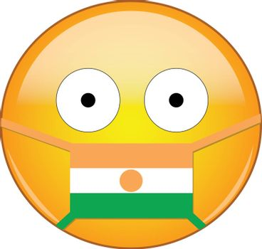 Yellow scared emoji in Nigerois medical mask protecting from SARS, coronavirus, bird flu and other viruses, germs and bacteria and contagious disease as well as toxic smog in Nigerian.