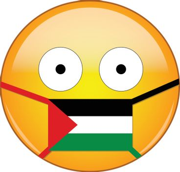 Yellow scared emoji in Palestinian medical mask protecting from SARS, coronavirus, bird flu and other viruses, germs and bacteria and contagious disease as well as toxic smog in Palestine.