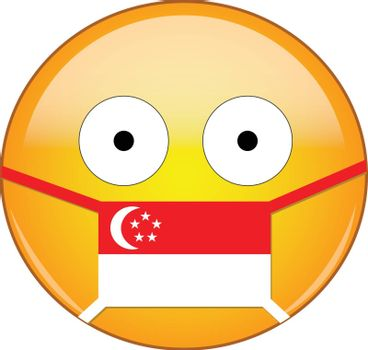 Yellow scared emoji in Singaporean medical mask protecting from SARS, coronavirus, bird flu and other viruses, germs and bacteria and contagious disease as well as toxic smog in Singapore.