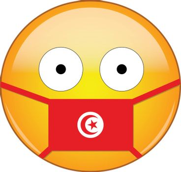 Yellow scared emoji in Tunisian medical mask protecting from SARS, coronavirus, bird flu and other viruses, germs and bacteria and contagious disease as well as toxic smog in Tunisia.