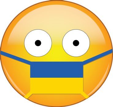 Yellow scared emoji in Ukrainian medical mask protecting from SARS, coronavirus, bird flu and other viruses, germs and bacteria and contagious disease as well as toxic smog in Ukraine.