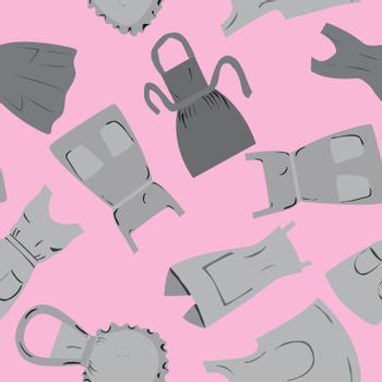 Repeat pattern with retro aprons on pink background. Flat cartoon style Vector illustration.