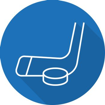 Ice hockey equipment. Flat linear long shadow icon. Hockey puck and stick. Vector line symbol