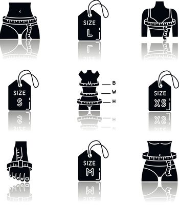 Female clothing sizes drop shadow black glyph icons set. Various women body parameters measurement for custom made apparel, bespoke tailoring. Isolated vector illustrations on white space