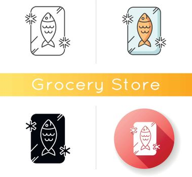Frozen food icon. Preserved fish. Frosted organic seafood. Cold uncooked salmon. Refrigerator marine food storage. Gastronomy section. Linear black and RGB color styles. Isolated vector illustrations