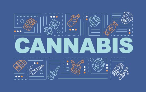 Cannabis word concepts banner. Recreational and medical marijuana. Natural hemp products infographics with linear icons on blue background. Isolated typography. Vector outline RGB color illustration