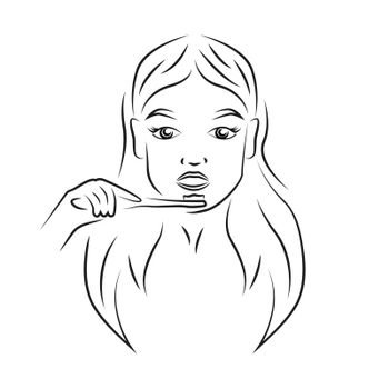 Woman brushing teeth contour portrait vector illustration. Girl face and toothbrush realistic line art. Lady whitening teeth, daily morning hygienic routine outline character on white background
