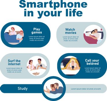 Using smartphone vector infographic template. Gadgets in daily life UI web banner with flat characters. Entertainment with modern devices. Cartoon advertising flyer, leaflet, ppt info poster idea