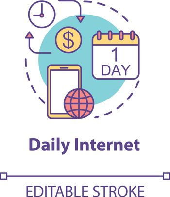 Daily internet concept icon. Mobile internet per day. Tariff plan price. Mobile phone service. Roaming idea thin line illustration. Vector isolated outline RGB color drawing. Editable stroke