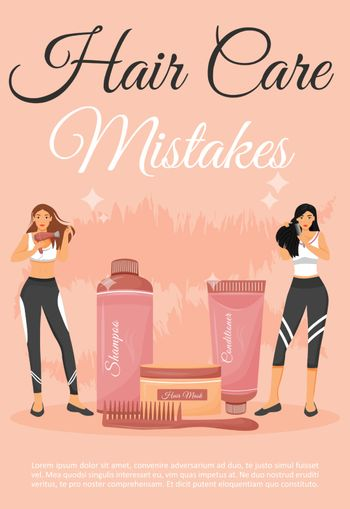 Hair care mistakes poster flat vector template. Healthy hair daily routine advices. Brochure, booklet one page concept design with cartoon characters. Hairdressing class flyer, leaflet