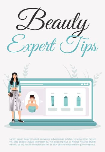 Beauty expert tips poster flat vector template. Skincare daily routine blog. Brochure, booklet one page concept design with cartoon characters. Cosmetology procedure advices flyer, leaflet