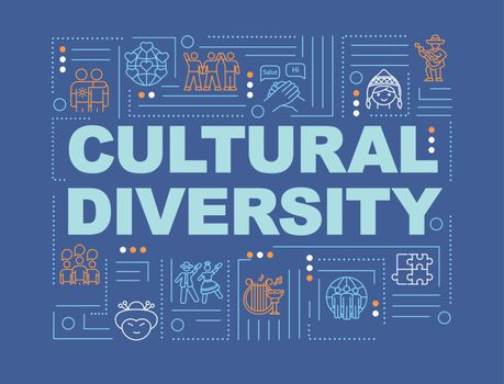 Multiculturalism word concepts banner. Cultural diversity. International community. Infographics with linear icons on blue background. Isolated typography. Vector outline RGB color illustration