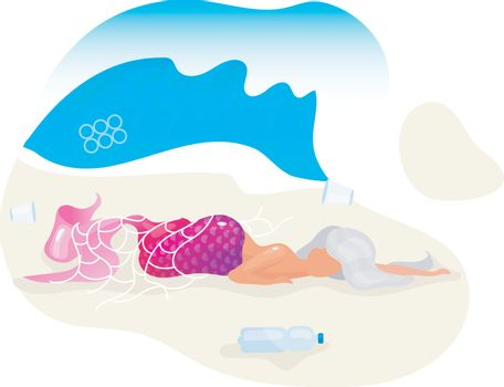 Mermaid trapped in fishnet flat concept icon. Dead fantasy creature on beach sticker, clipart. Plastic pollution in ocean problem. Nature damage. Isolated cartoon illustration on white background