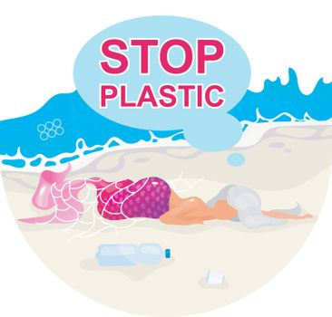 Stop plastic pollution in ocean flat concept icon. Mermaid trapped in fishnet. Dead fantasy creature on beach sticker, clipart. Nature damage. Isolated cartoon illustration on white background