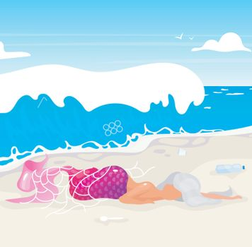 Mermaid trapped in fishnet flat vector illustration. Plastic pollution, ocean contamination problem. Nature damage. Ecological catastrophe. Dead fantasy creature on beach cartoon character
