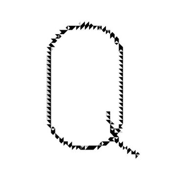 """Picture of a letter """"Q"""" in a jagged style."""