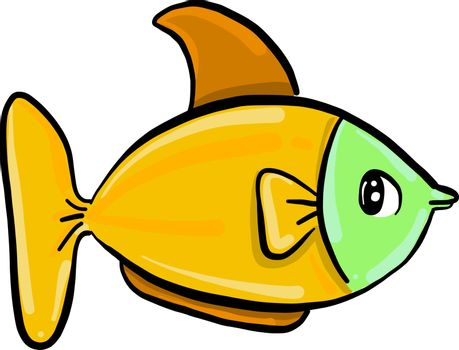 Yellow fish, illustration, vector on white background