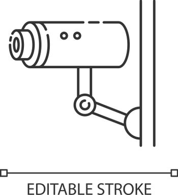 Video surveillance pixel perfect linear icon. Security camera. CCTV for monitoring area. Thin line customizable illustration. Contour symbol. Vector isolated outline drawing. Editable stroke