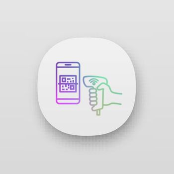 Payment QR with code scanner scanning phone screen app icon. Wifi 2D barcode reader. Wireless QR code barcode scanner. Handheld matrix barcodes scanning. UI/UX user interface. Web or mobile application. Vector isolated illustration