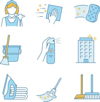 Cleaning service color icons set. Maid, napkin, sponge, broom and bucket, air freshener, ironing, offices cleaning, scoop, brush, mop. Isolated vector illustrations