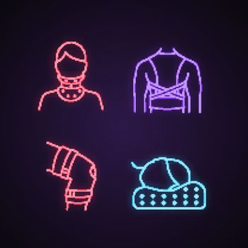 Trauma treatment neon light icons set. Cervical collar, posture corrector, knee brace, orthopedic pillow. Glowing signs. Vector isolated illustrations