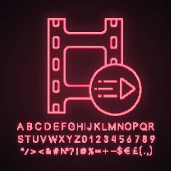 Motion graphics neon light icon. Animation. Multimedia player. Play video. Filmstrip and play button. Glowing sign with alphabet, numbers and symbols. Vector isolated illustration