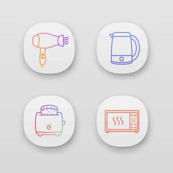 Household appliance app icons set. Hair dryer, electric kettle, slice toaster, microwave oven. UI/UX user interface. Web or mobile applications. Vector isolated illustrations