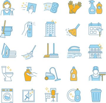 Cleaning service color icons set. Cleaning products. Napkins, sponge, broom, mop, chemicals, detergents. Window, tile, floor, bathroom, kitchen cleaner. Housekeeping. Isolated vector illustrations