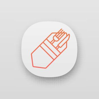 Fork and knife in napkin app icon. Cutlery. Table setting. Etiquette. Business lunch rules. Restaurant, cafe. UI/UX user interface. Web or mobile application. Vector isolated illustration