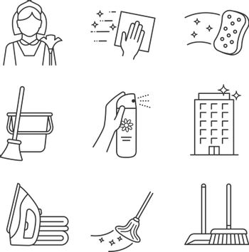 Cleaning service linear icons set. Maid, napkin, sponge, broom and bucket, air freshener, ironing, offices cleaning, scoop, brush, mop. Contour symbols. Isolated vector illustrations. Editable stroke