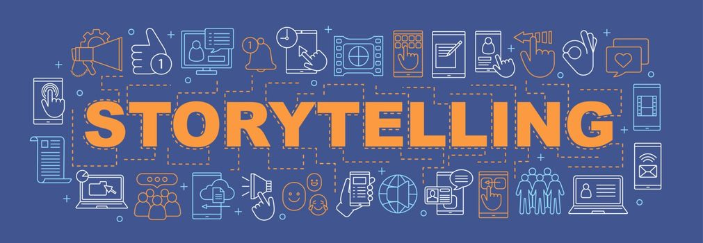 Storeytelling word concepts banner. Social media. Presentation, website. Online communication. Social network. Isolated lettering typography idea with linear icons. Vector outline illustration