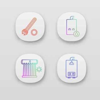 Heating app icons set. Electric and gas water heaters, heating boiler, industrial water heater. UI UX user interface. Web or mobile applications. Vector isolated illustrations