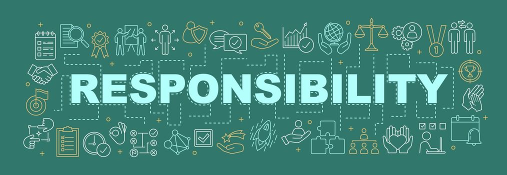 Responsibility word concepts banner. Goal achieving. Business development. Strategy building. Presentation. Purposes. Isolated lettering typography idea with linear icons. Vector outline illustration