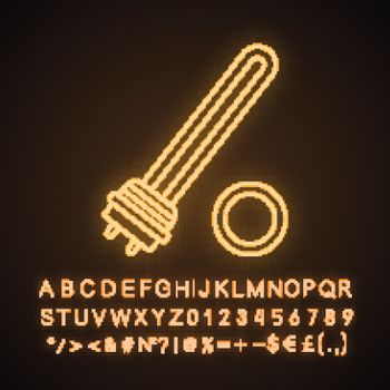 Water heater element neon light icon. Immersion heater. Electric heating element. Glowing sign with alphabet, numbers and symbols. Vector isolated illustration