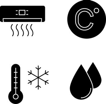Air conditioning glyph icons set. Air conditioner, Celsius degree, winter temperature, humidification. Silhouette symbols. Vector isolated illustration