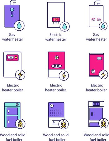 Heating color icons set. Gas, electric, solid fuel, boilers and water heater. Commercial, industrial and domestic central heating systems. Isolated vector illustrations