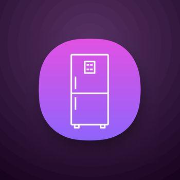 Fridge app icon. UI UX user interface. Refrigerator. Freezer. Kitchen appliance. Web or mobile application. Vector isolated illustration