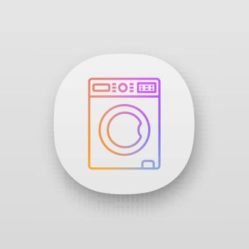 Washing machine app icon. Laundry machine. Washer. Household appliance. UI UX user interface. Web or mobile application. Vector isolated illustration