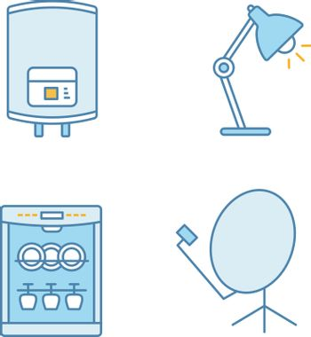 Household appliance color icons set. Electric water heater, table lamp, dishwasher, satellite dish. Isolated vector illustrations