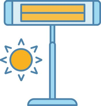 Infrared heater color icon. Pedestal electric heater. Household appliance. IR heating lamp. Isolated vector illustration