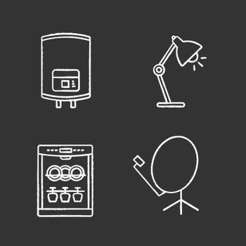 Household appliance chalk icons set. Electric water heater, table lamp, dishwasher, satellite dish. Isolated vector chalkboard illustrations