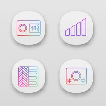 Air conditioning app icons set. Digital thermostat, power level, floor heating, climate control. UI UX user interface. Web or mobile applications. Vector isolated illustrations