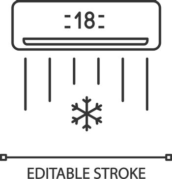 Air conditioner linear icon. Thin line illustration. Air conditioning. Contour symbol. Vector isolated outline drawing. Editable stroke
