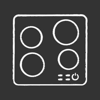 Electric induction hob chalk icon. Cooktop. Cooking panel, surface. Induction stove or built in cooker. Modern kitchen appliance. Isolated vector chalkboard illustration