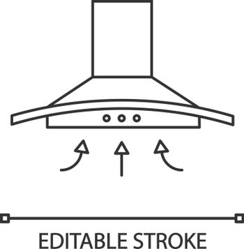 Range hood linear icon. Kitchen extractor fan. Thin line illustration. Cooker hood. Kitchen exhaust. Household appliance. Contour symbol. Vector isolated outline drawing. Editable stroke
