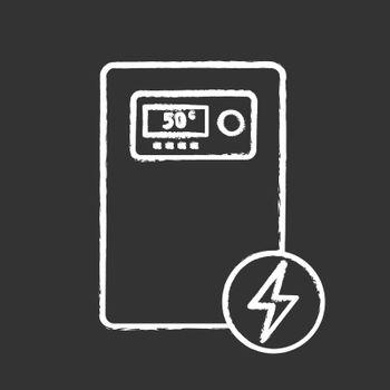 Electric heating boiler chalk icon. House central heater. Heating system. Isolated vector chalkboard illustration
