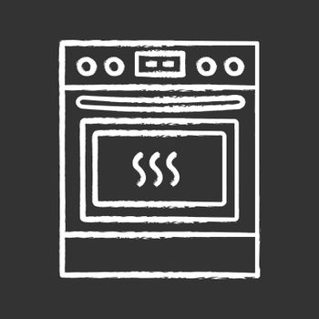 Kitchen stove chalk icon. Gas range cooker. Cooktop and oven. Kitchen appliance. Isolated vector chalkboard illustration
