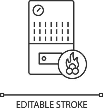Solid fuel boiler linear icon. House central heater. Thin line illustration. Firewood boiler. Heating system. Contour symbol. Vector isolated outline drawing. Editable stroke